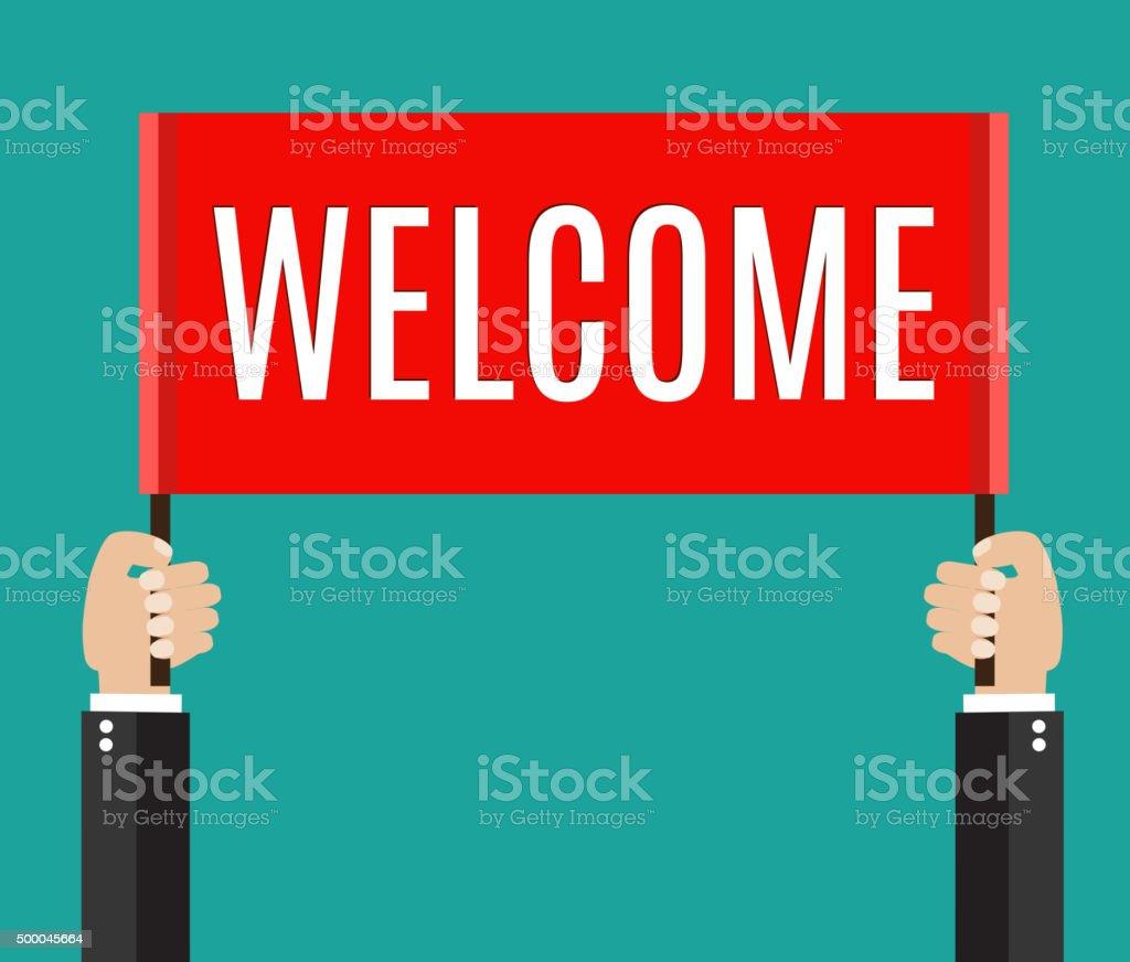 Businessman holding welcome sign vector art illustration