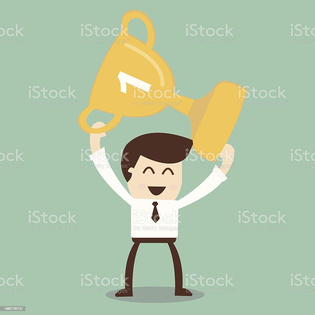 Businessman holding winning trophy vector art illustration