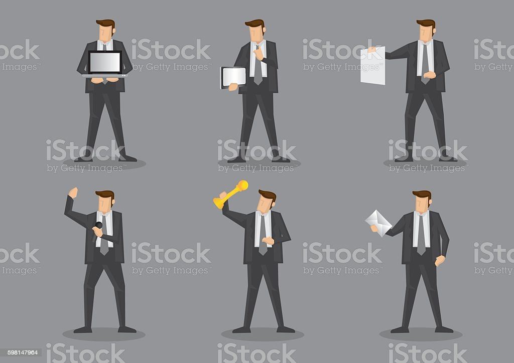 Businessman Holding Work Equipment and Office Supplies vector art illustration