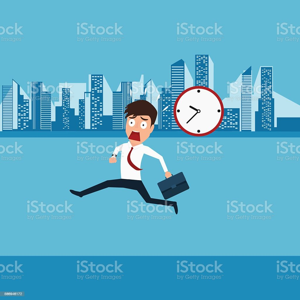 Businessman hurry running going to work. Late time. vector art illustration