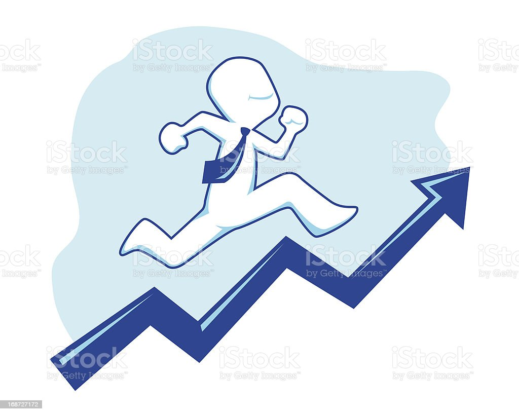 Businessman Icon Climbing a Sales Graphic royalty-free stock vector art