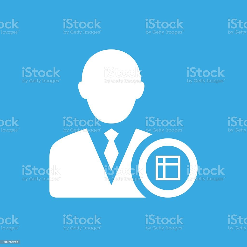 Businessman icon on a blue background. - Smooth Series vector art illustration