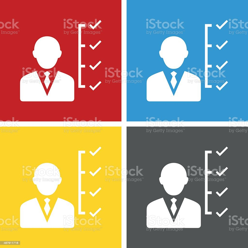 Businessman icon on square buttons. vector art illustration