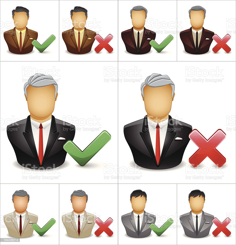 Businessman icon with tick and cross symbol royalty-free stock vector art
