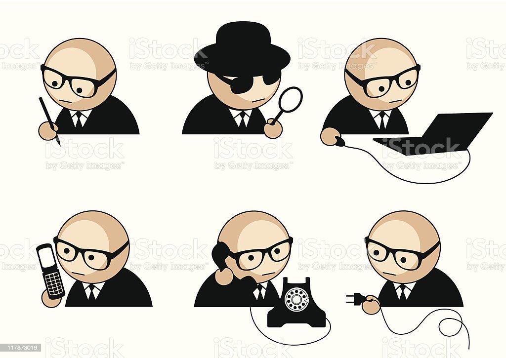 businessman icons set vector art illustration