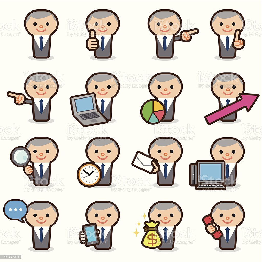 Businessman icons vector art illustration