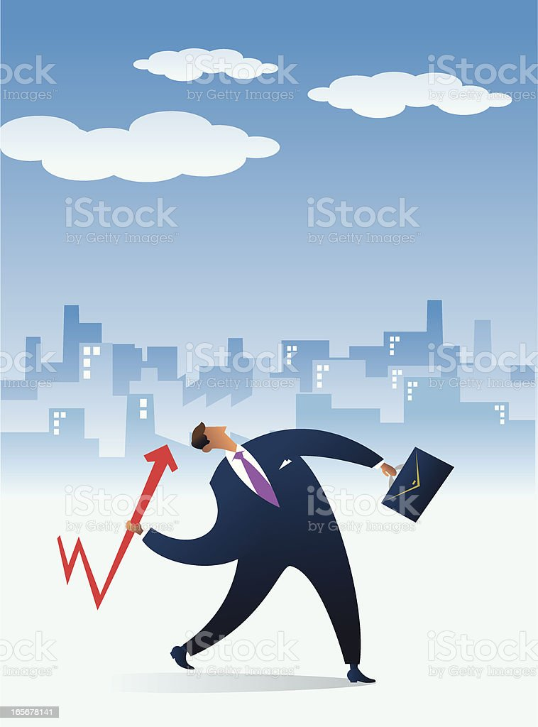 Businessman Impulse toward to the clouds royalty-free stock vector art