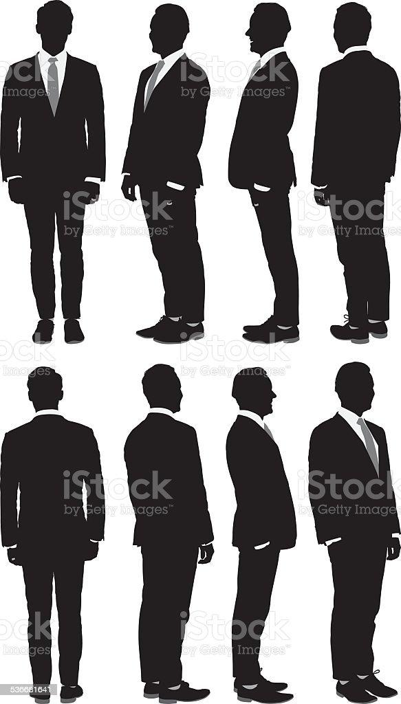 Businessman in 360 degree view vector art illustration