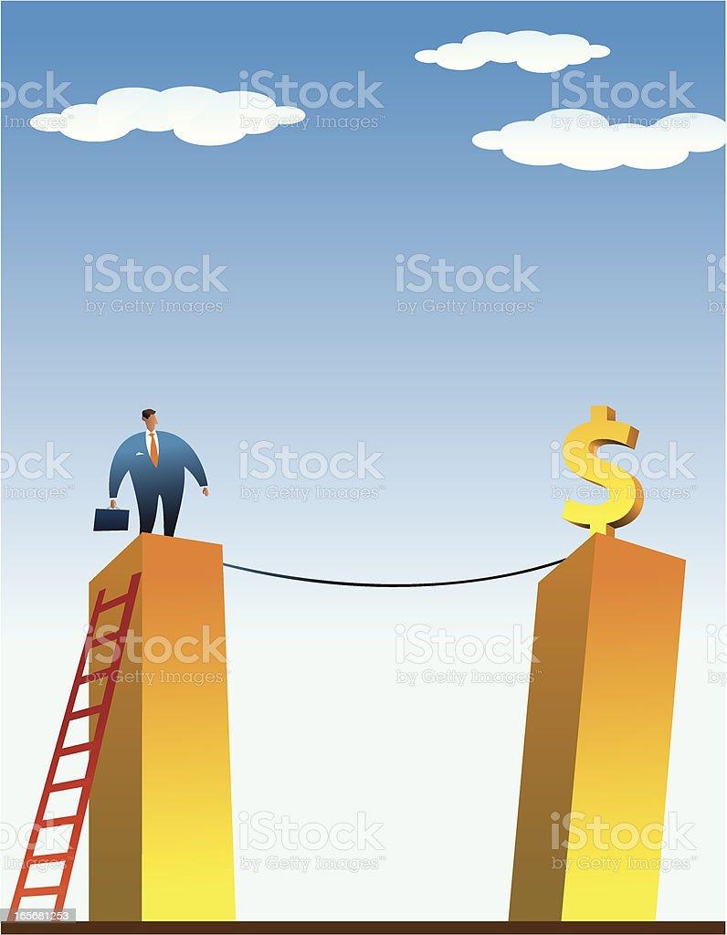 Businessman in a Finantial Risk vector art illustration