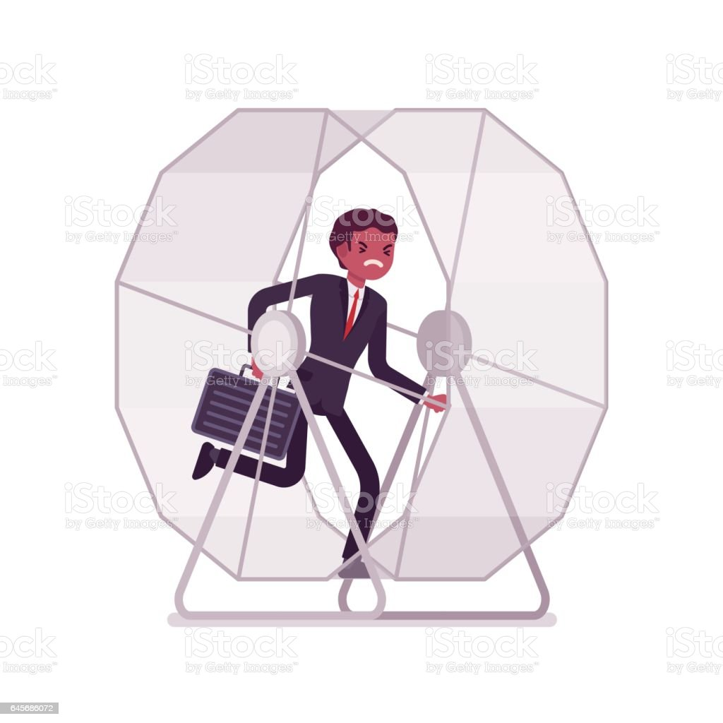 Businessman in a running wheel vector art illustration