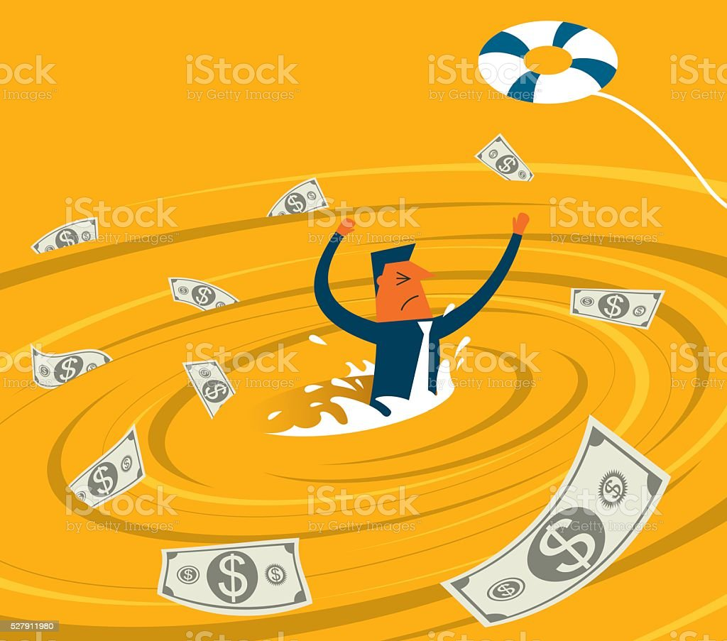 Businessman in a whirlpool vector art illustration