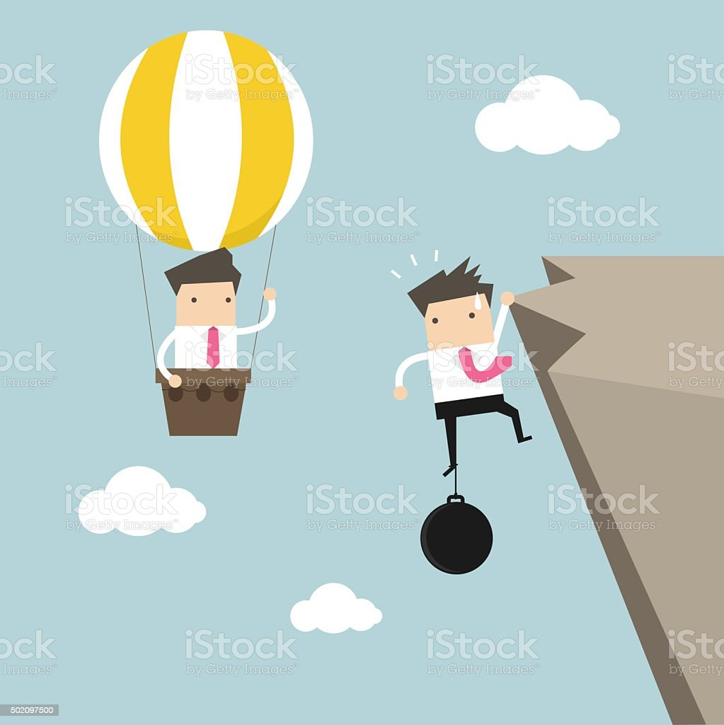 Businessman in balloon fly pass businessman hold on the cliff vector art illustration