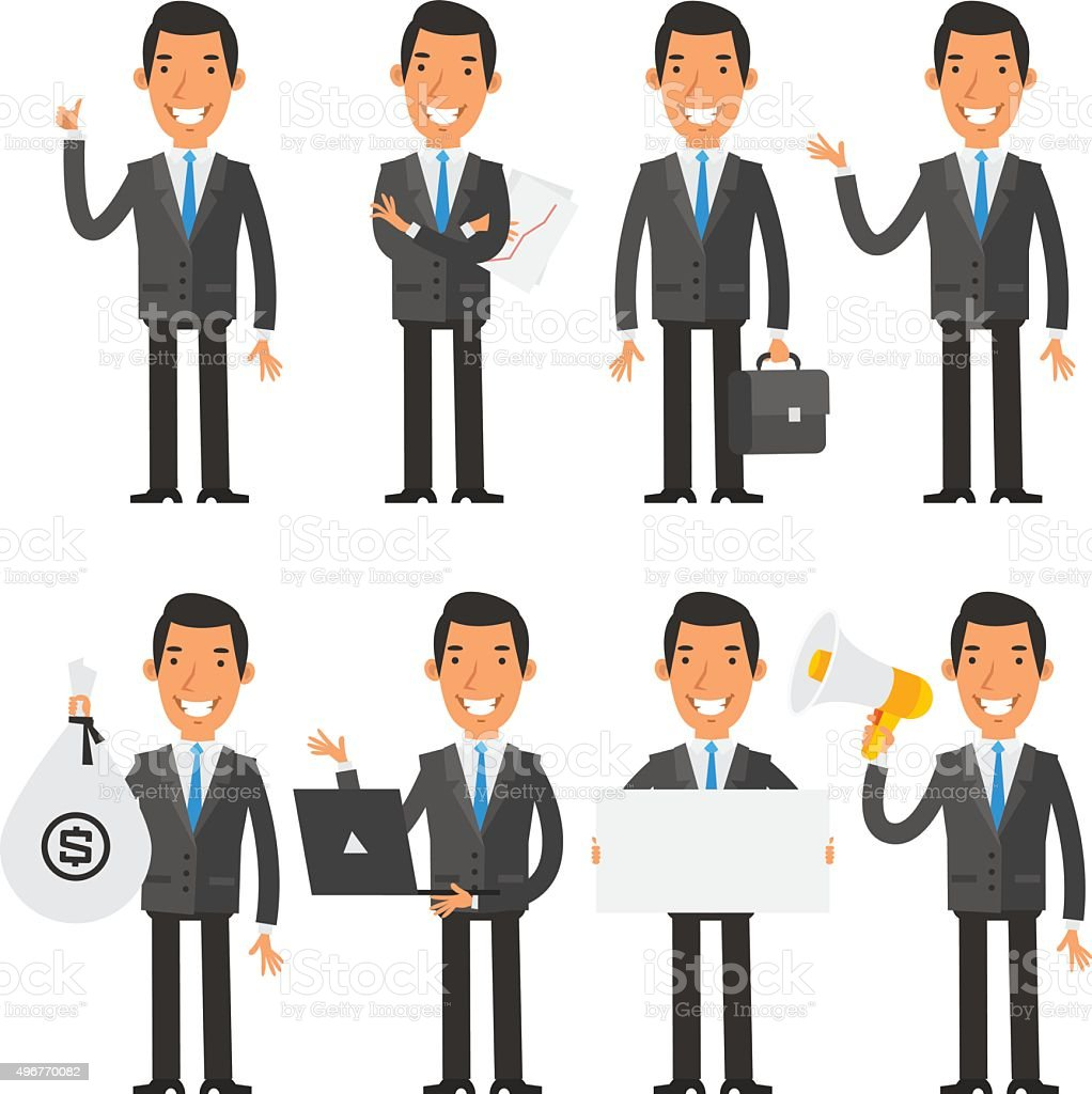 Businessman in blue tie in different poses vector art illustration