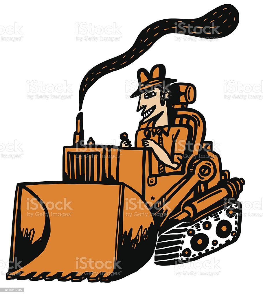 businessman in bulldozer royalty-free stock vector art