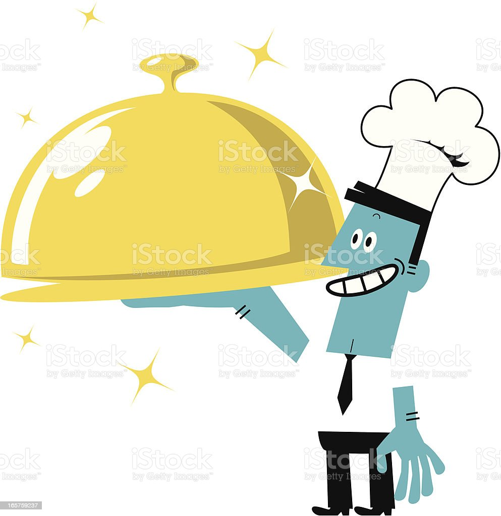 Businessman in Chef's Hat Serving a Covered Golden Tray royalty-free stock vector art