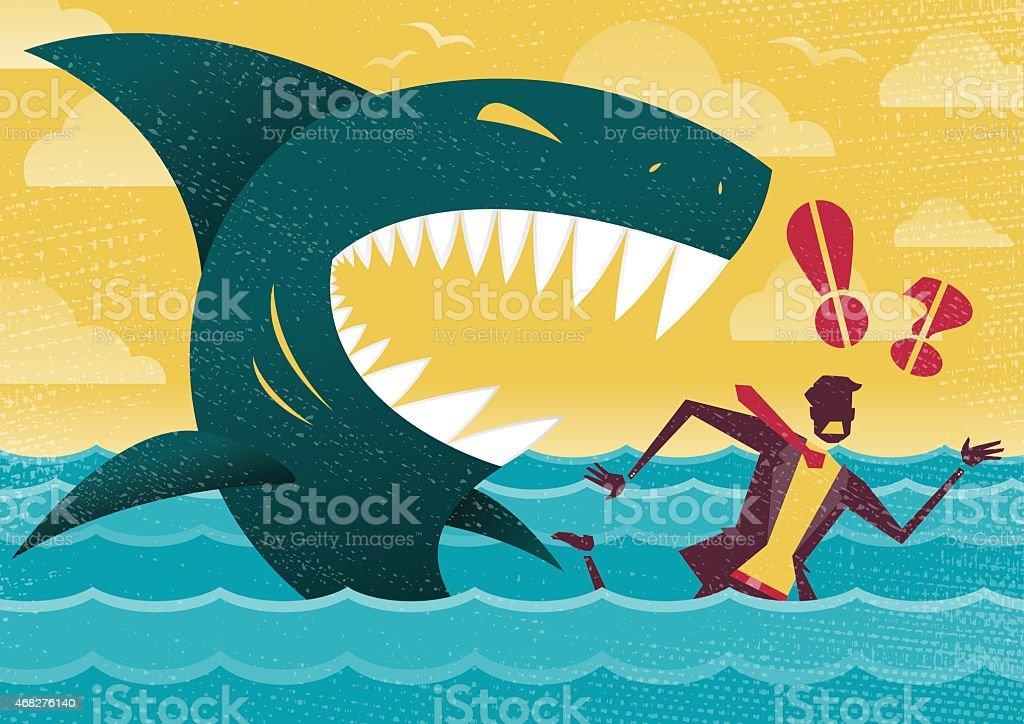 Businessman in Dangerous Shark Attack. vector art illustration