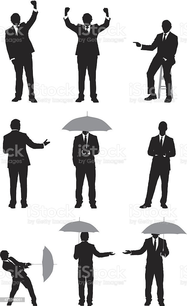Businessman in different poses vector art illustration