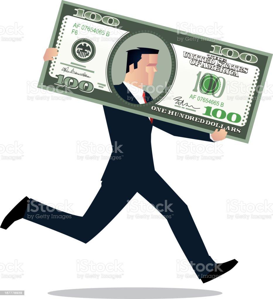 Businessman in dollar bill running royalty-free stock vector art