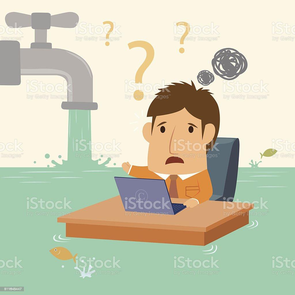 Businessman - In flood - Illustration vector art illustration