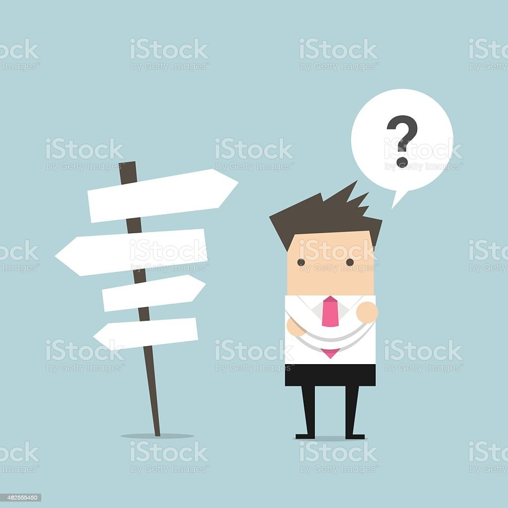 Businessman in front of a choice vector art illustration