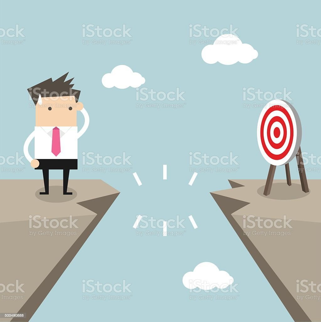 Businessman in front of a gap to target vector art illustration