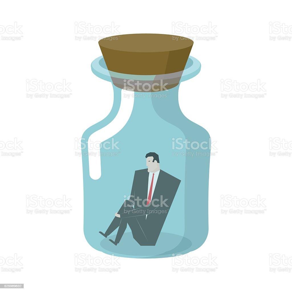 Businessman in glass jar. Boss in bottle. Desperate situations. vector art illustration