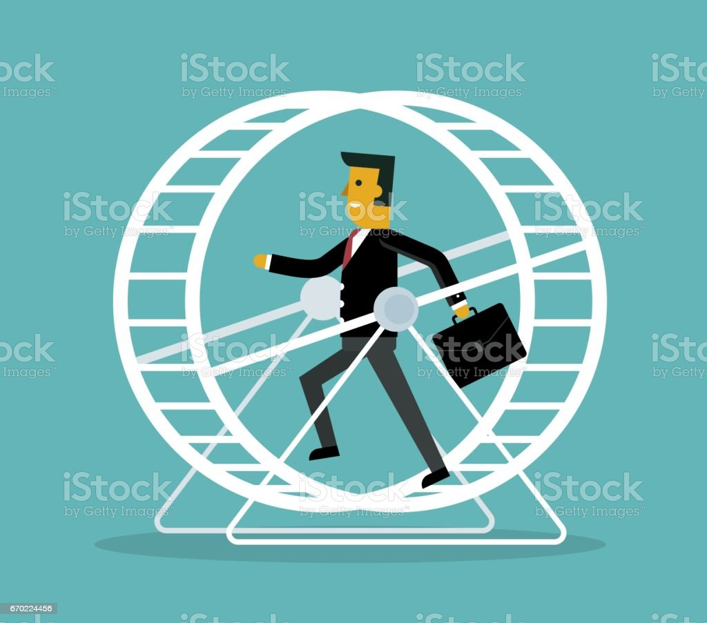Businessman in Hamster Wheel vector art illustration