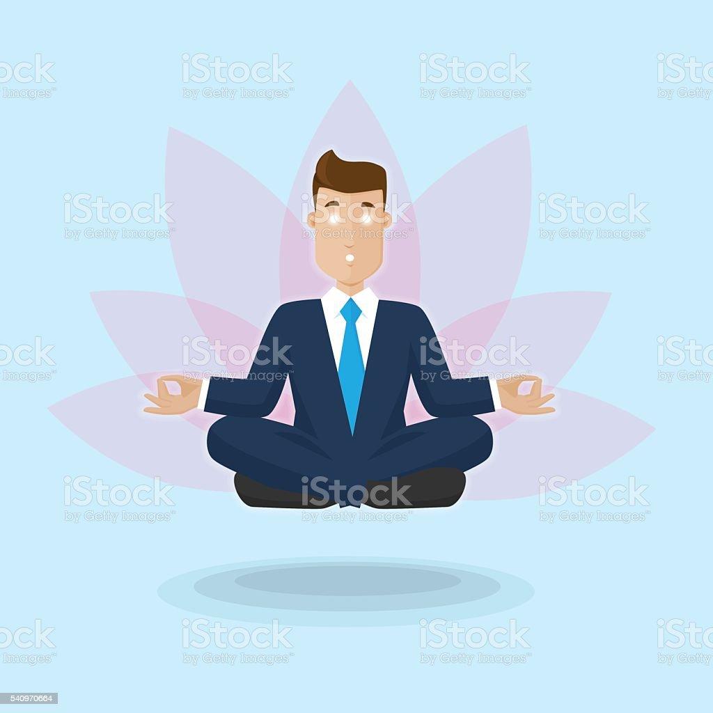Businessman in nirvana vector art illustration