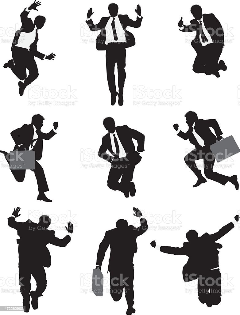 Businessman in suit jumping mid air poses vector art illustration