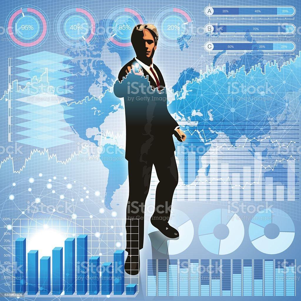 Businessman in the big data vector art illustration