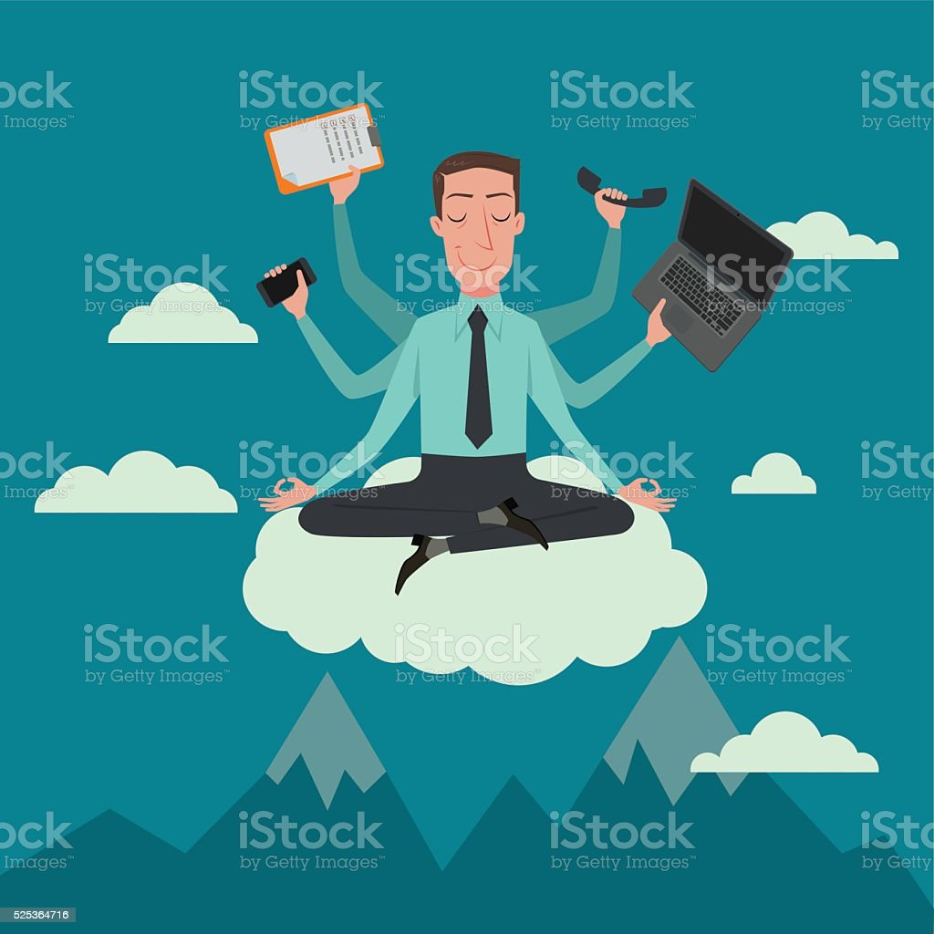 Businessman in the sky position. vector art illustration