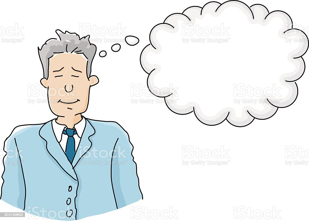 businessman in thought vector art illustration