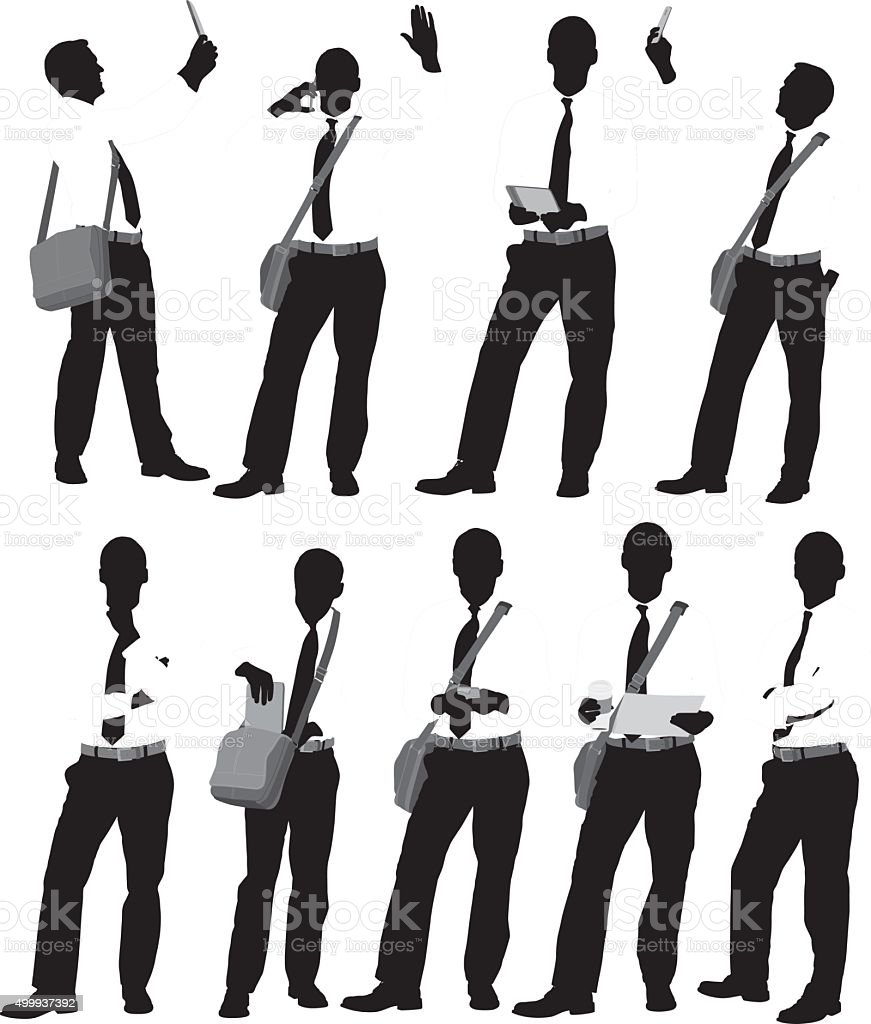Businessman in various actions vector art illustration