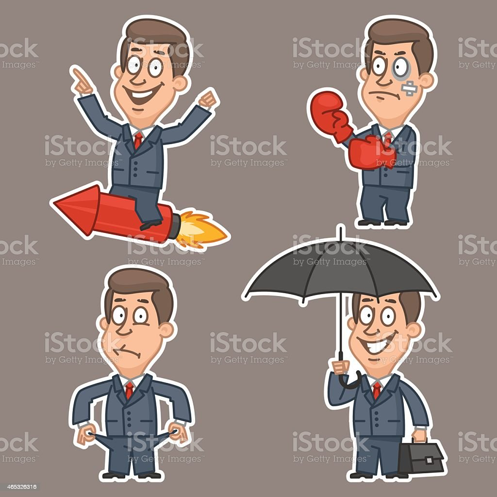 Businessman in various poses stickers vector art illustration