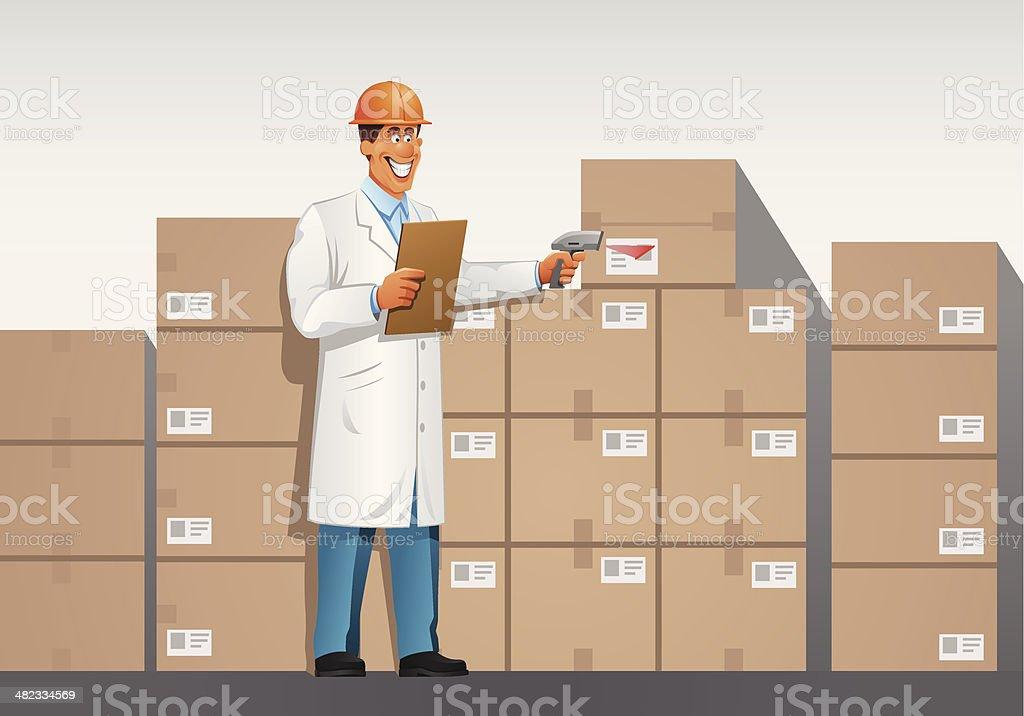 businessman in warehouse vector art illustration