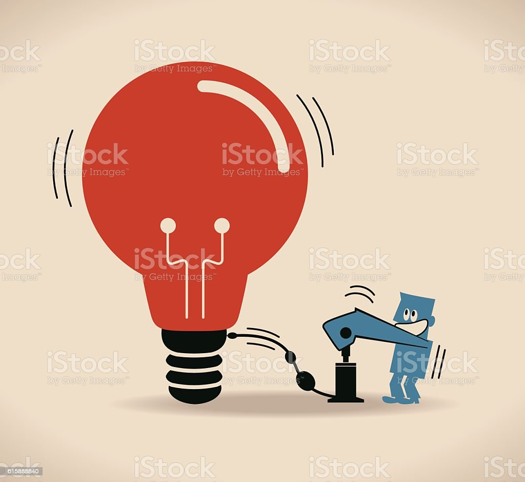 Businessman (designer) inflates (pumps up) idea light bulb shaped balloon vector art illustration