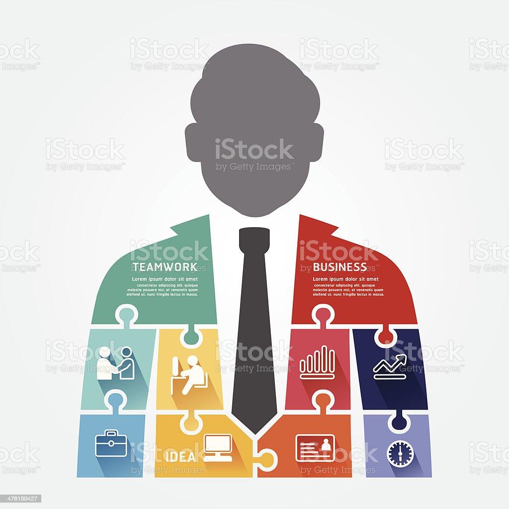 businessman infographic Template jigsaw banner. royalty-free stock vector art