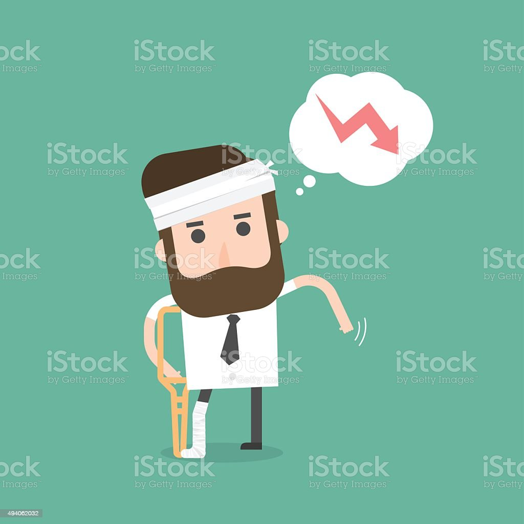 Businessman Injured. Concept Of Stock Down. vector art illustration