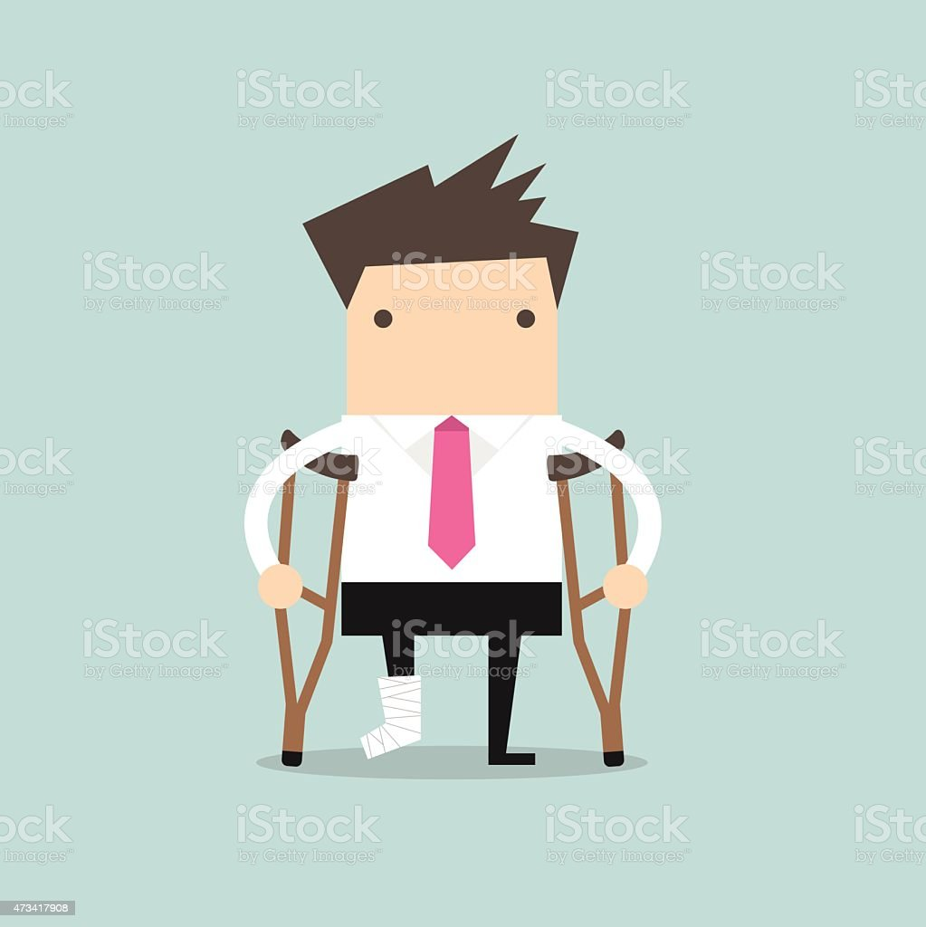 Businessman injured standing with crutches vector art illustration