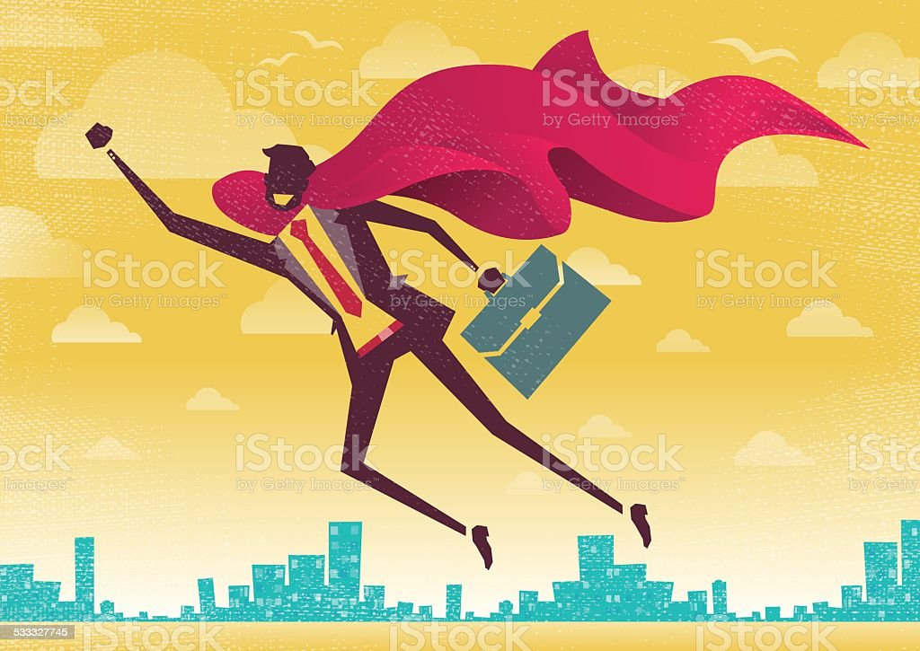 Businessman is a Superhero. vector art illustration