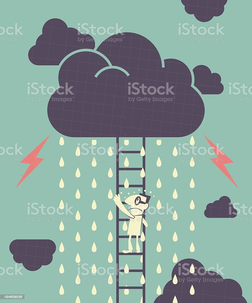 Businessman is climbing ladder, dark clouds is raining and Lightning vector art illustration