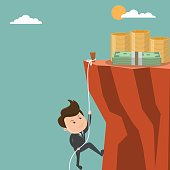 Businessman is climbing to get the money , Successful Businessman