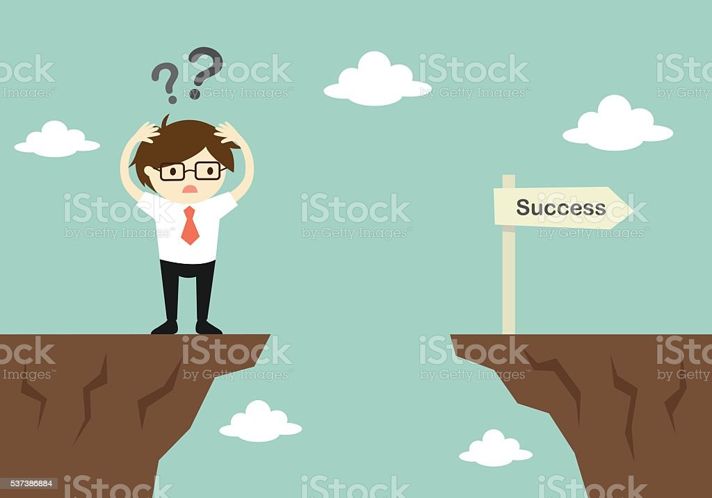 businessman is confusing about how to across to another cliff. vector art illustration