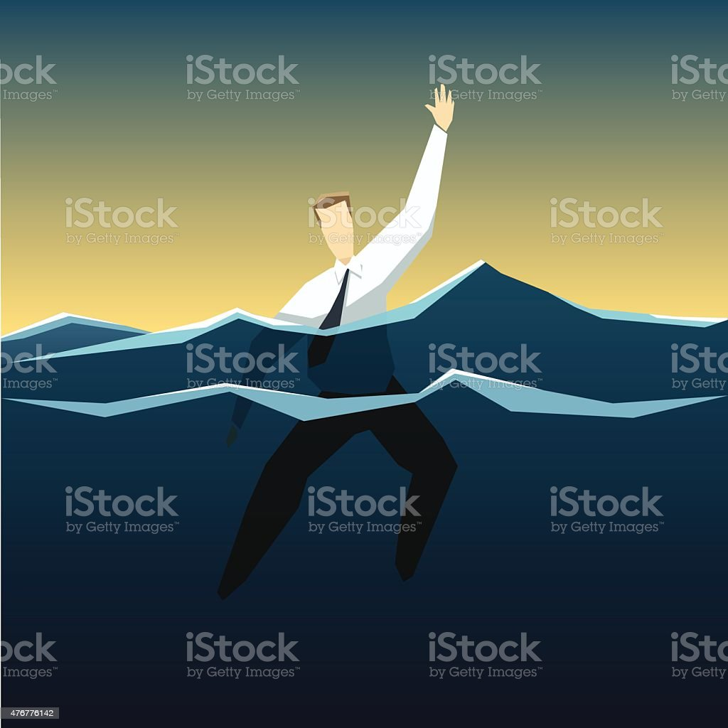 Businessman is drowning in the deep ocean of problems vector art illustration