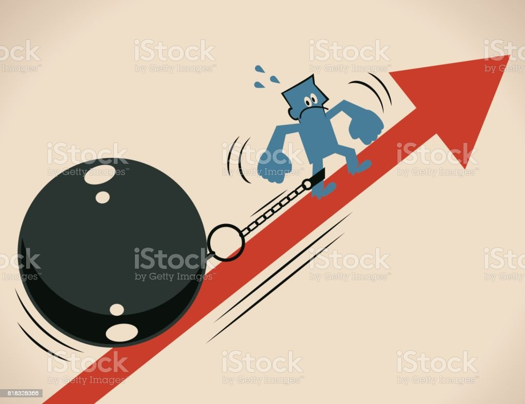 Businessman (man, prisoner) is locked in a big iron ball and chain, he is struggling to escape from it and moving up on the up raising arrow symbol vector art illustration
