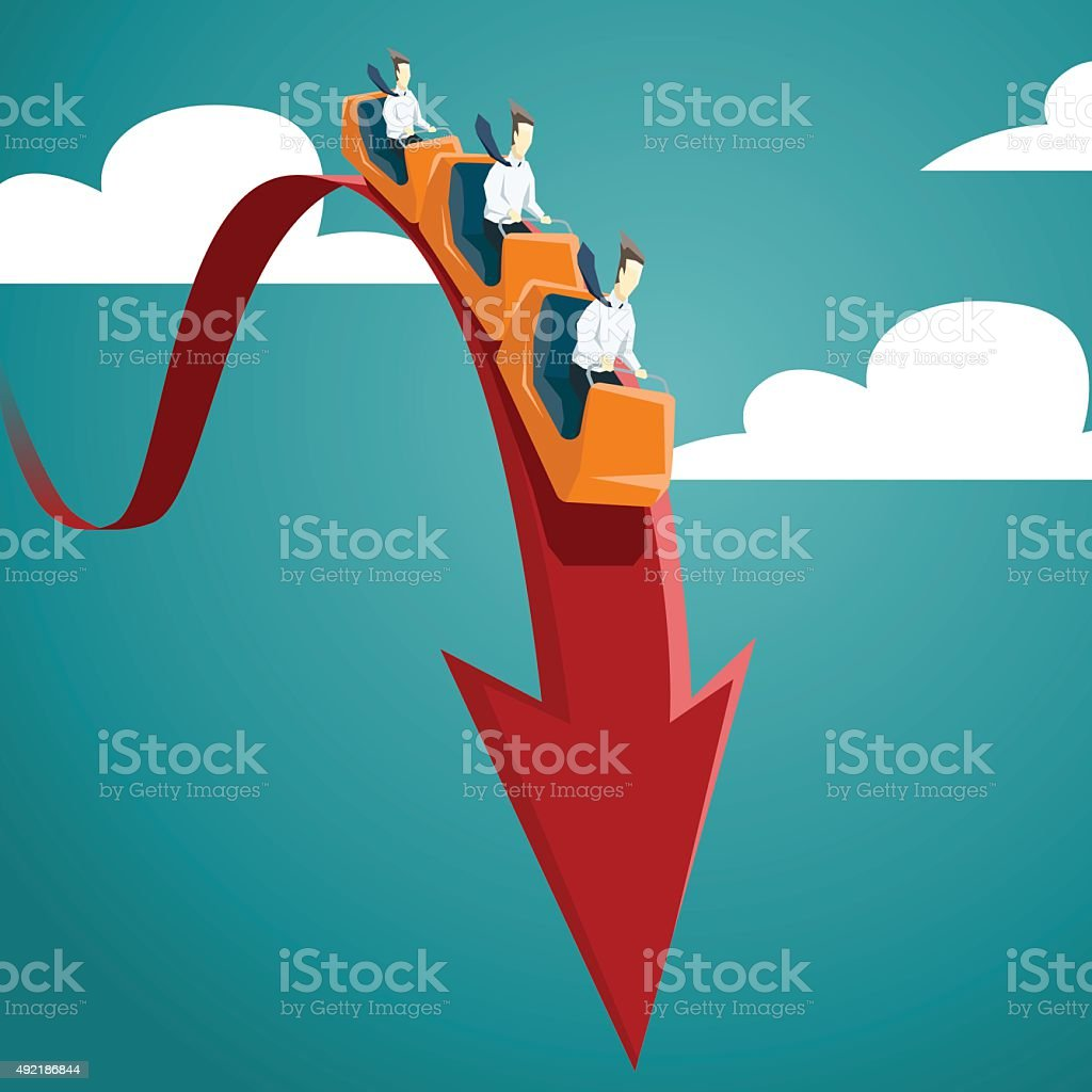 Businessman is riding on a roller coaster vector art illustration
