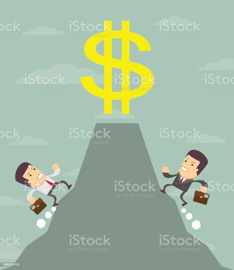 Businessman is runing to get the prize vector art illustration