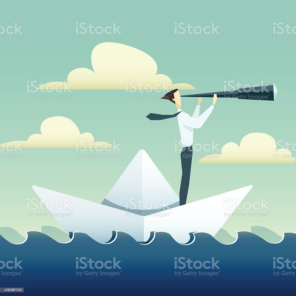 Businessman is sailing on paper boat in ocean vector art illustration