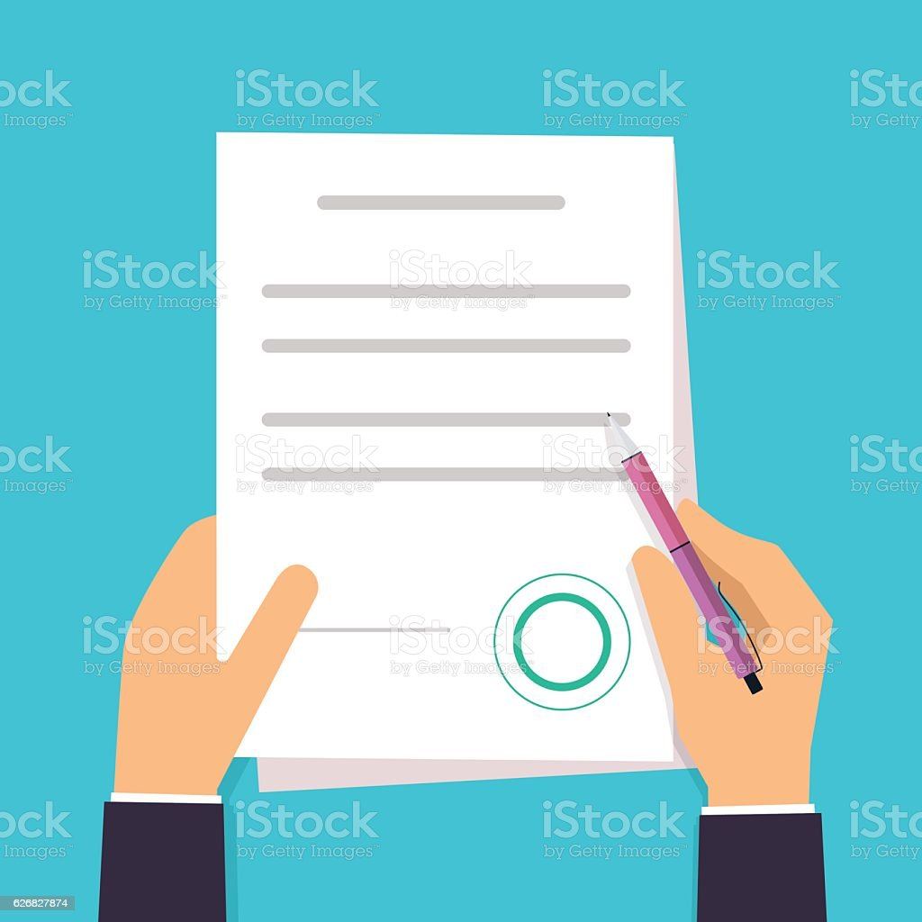 Businessman is signing a contract. Vector agreement icon in flat vector art illustration