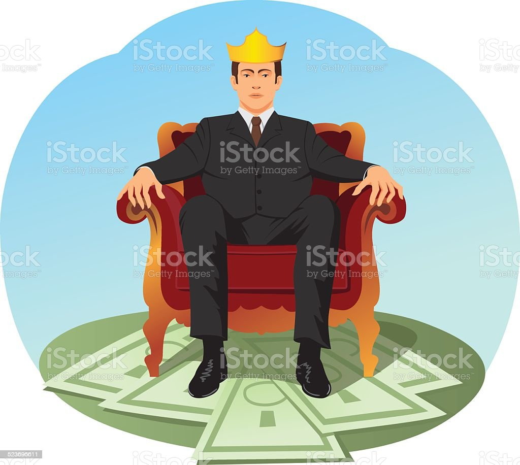 Businessman is sitting like a king vector art illustration